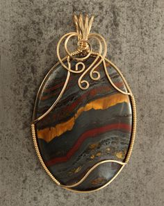 Australian Tiger Iron cabochon wire wrap in 14k by AgateCabochon, $110.00