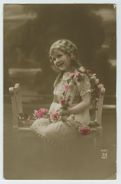 1910's Vintage Children Child SMILEY LITTLE GIRL tinted antique photo postcard