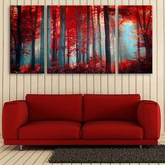 E Home Stretched Canvas Art Red Wood Decorative Painting Set Of 3