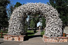 Jackson Hole, Wyoming Elk Antler Arch...antlers fall off elk by nature & are collected to make the arch.