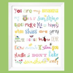 You Are My Sunshine Print 16x20