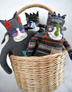 Monster Stuffed Animal Small Striped Wool Sweater Repurposed Upcycled.