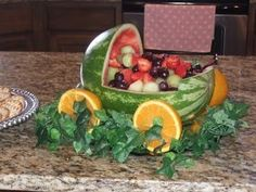 Fruit Baby Carriage. Hard work but so worth it! Great conversation piece at all baby showers! http://bit.ly/HKUuFy