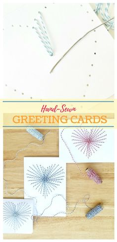 How to Make Hand Sewn Greeting Cards | Use Baker's Twine to Make a Gorgeous DIY Card for Valentine's Day Mother's Day, or Any Other Holiday | Destination Decoration