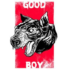 Digital illustration designed by lokhaan.  Vintage red poster with distressed capital white typograhy and black and white detailed barking dog