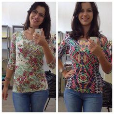 blusinha manga 3/4 estampadas, nos tamanhos P, M, G e GG! #adorokadini @adorokadini #modafeminina #euquero