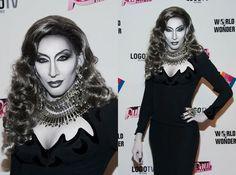 amazing black and white greyscale drag makeup costume! <3