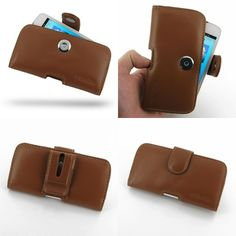 PDair Leather Case for Acer Liquid Gallant Duo E350 - Horizontal Pouch Type (Brown)