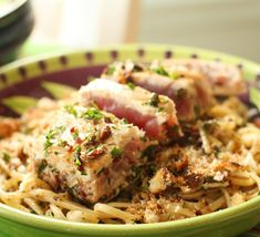 Hazelnut Crusted Ahi Tuna with Tagliatelle in Olive Anchovy Sauce - Spinach Tiger Purple Potato Recipes, Fried Corn Recipes, Spinach Tortilla, Tortilla Recipe, Pumpkin Spiced Latte Recipe, Pumpkin Spice Latte, Steak Recipes, Keto Recipes, Free Recipes