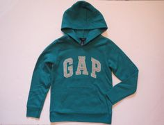 NWT Girls GAP KIDS Teal Pullover Arch Logo Fleece Hoodie Sweatshirt Size 4T 4-5