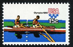 Rowing, another popular Olympic sport, is featured on this 1980 stamp.