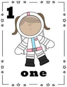 Space Theme - Number Cards 0-10: