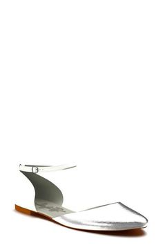 Shoes of Prey Metallic Snakeskin d'Orsay Flat (Women)