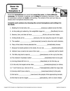 Worksheet - Choose the Homograph | Homographs, Worksheets and ...