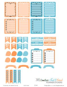 Free printable download of teal and coral planner stickers suitable for planners and other types of papercrafts. For personal use only.
