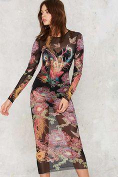 Nasty Gal Birds of Paradise Sheer Midi Dress - What's New
