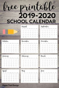 printable school calendar - paper trail Printable school calendar for use in the classroom or for a student folder this school year. Complete calendar from August to June.