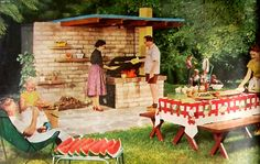 Mid century Barbecue. Love that patio shelter! Hey high heels, give me some of that watermelon!