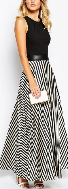 striped skirt maxi dress