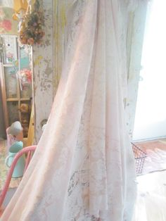 Pink vintage  lace tablecloth shabby chic overdyed pink romantic cottage by Vintagewhitecottage on Etsy