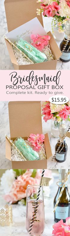 "Cute Bridesmaid proposal idea. Complete Personalized Bridesmaid Proposal Gift Box, everything you need to ask that important question, ""Will you be my Bridesmaid?"". Includes box, ribbon, personalized champagne flute, paper straw and note card."
