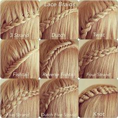Nine Types of Lace Braids by Abella's Braids Abellasbraids.com