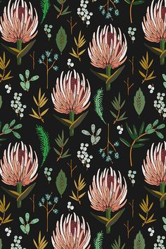 Floral Study Dark by Holli Zollinger - Pink and yellow botanical pattern with emerald green and pearl white plants on a black background. Whimsical floral design on fabric, wallpaper, and gift wrap. #floral #surfacedesign #makeit