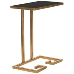 Smethport Black Glass Gold Leaf Accent Table