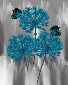 Blue Flowers Modern Blue Floral Butterfly Home Decor Wall Art Matted Picture Status: Available...