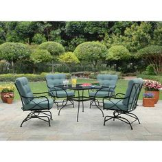 $349 Better Homes and Gardens Seacliff 5pc Dining Set, Teal - Walmart.com