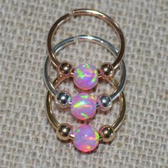 Opal Septum Ring Nose Ring 14k Gold Filled by ModernJewelBoutique