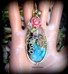 Summer Rose Labradorite Pendant Necklace by TangoCatGems on Etsy