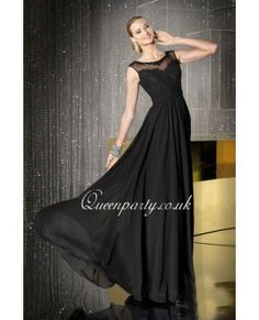 Black Chiffon Long Prom Dress With Cap Sleeves I like it in lavender or pink