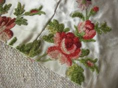 18th century French silk embroidered with fanciful swags of silk chenille roses…