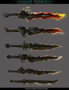 Low-poly hand-painted swords by ninja-magus.deviantart.com on @deviantART