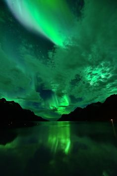 llbwwb:   Aurora reflections in Ersfjordbotn (by John A.Hemmingsen)