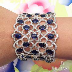 Sparkling Sapphire and Diamond Cuff - ButaniJewellery