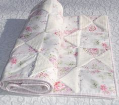 Baby Girl Quilt Blanket  Pink Lavender White Floral  by KeriQuilts, $149.00