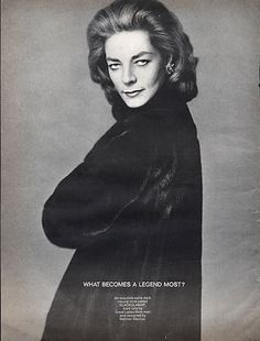 """Lauren Bacall - Blackglama Mink """"What Becomes A Legend Most?"""" Ad Campaign (1968)."""