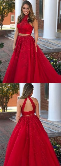 b4fa4500b001 High Neck Open Back Long Champagne Two Piece Prom Dress with Appliques