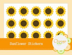 Sunflower Stickers Planner Stickers by OrangeKiwiDesign on Etsy All Design, Planner Stickers, Kiwi, Addiction, It Is Finished, Messages, Make It Yourself, Orange, Fall