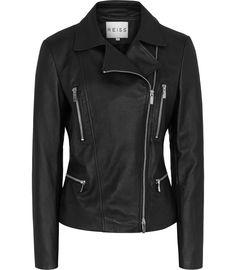 Flutter Soft Black Leather Biker Jacket ~ $450.00 at reiss.com