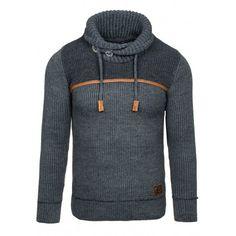 4ee830d57a4a Pánsky sveter s golierom čiernej farby - fashionday.eu