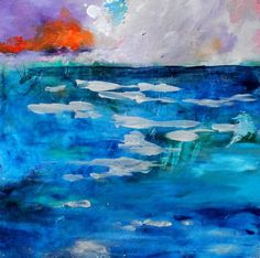Abstract Water Painting Seascape Blue Sky by kerriblackmanfineart