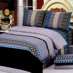 Le Vele Delma Duvet Cover Bed in Bag King Size Bedding Set LE185K [Kitchen] by Le Vele. $163.99. Decorate your bedroom with this modern duvet cover set fearing an array of stripes with pock-dots and shades of blue and lime green.