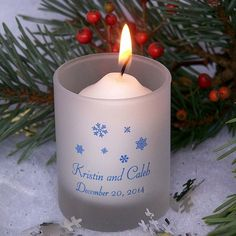 Personalized frosted votive candle holders for winter wedding favors and guest gifts. Great idea for wedding welcome bags too!
