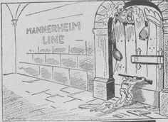 Winter War political cartoon Mannerheim Line