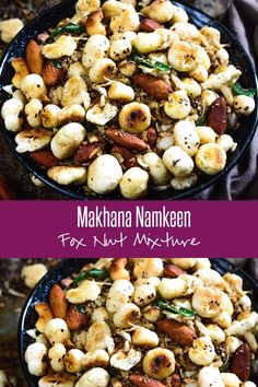 Makhana Namkeen is a low fat, tasty snack that is also great for health. Phool Makhana are popped lotus seeds or nuts. These are dried seeds that are got from the lotus plant and used in a wide variety of dishes. North Indian cuisine makes use of this foo Evening Snacks Indian, Healthy Evening Snacks, Healthy Indian Snacks, Vegetarian Snacks, Healthy Recipes, Snack Recipes, Tea Time Snacks, Lunch Snacks, Yummy Snacks