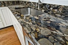 Perfect granite countertop to complement a more natural/rustic kitchen--black marinace