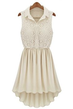 Cream Lace Top Dip Hem Pleat Skirt Dress ALREADY HAVE THIS DELICATE CREAM DRESS WITH A BEAUTIFUL LACE EMBROIDERED BODIST TOP THAT BUTTONS DOWN TO THE WAIST LINE...MUST HAVE*